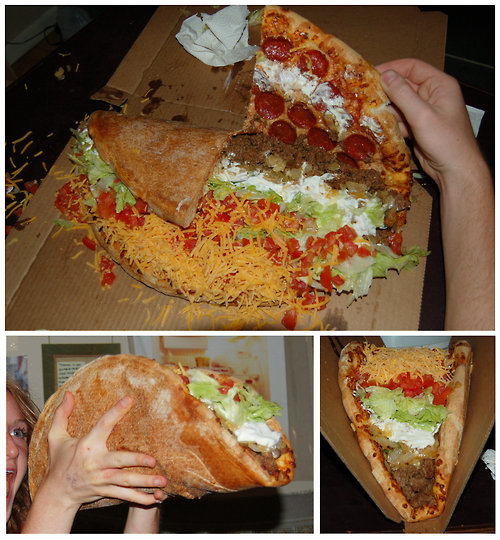 Giant taco in a pizza