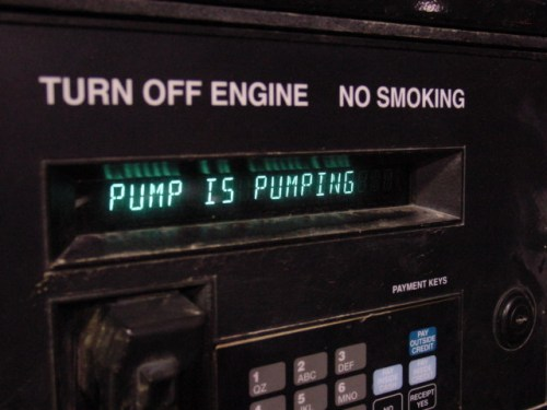 Gas station pump status. Insightful.