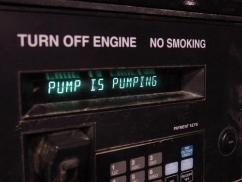 Gas station pump status. Insightful.