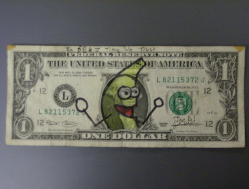 Dollar bill that's been Peanut Butter Jelly Timed