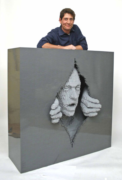 The artist and one of his lego art works
