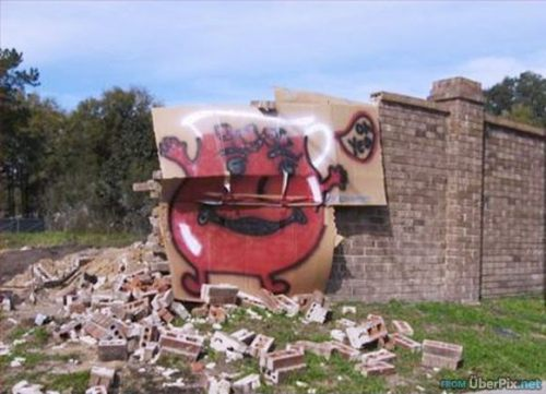 Kool-Aid Man breaking down a wall
